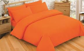 plain dyed bright orange colour bedding duvet quilt cover set polyester cotton