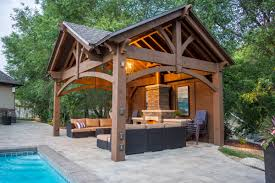 3rd gable pavilion w privacy wall fireplace western