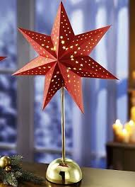 Tischleuchte Stern Papier Rot Weihnachten Fensterdeko