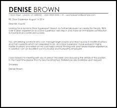 Entry Level Supervisor Cover Letter Door Supervisor Cover Letter