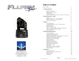 Blizzard Lighting Flurry 5 Blizzard Lighting Flurry Spot User Manual 10 Pages