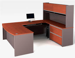 desks for office. Contemporary For U Shaped Desk With Solid Wood Top Panel And Extra Storage Feature A Flat  Monitor In Desks For Office