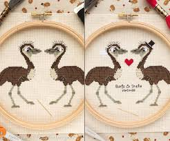 Fuzzy Fox Designs Emu Pair Cross Stitch Pattern Pdf Personalised Wedding