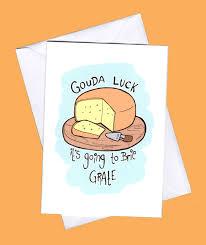 Good Luck Card Good Luck Funny Good Luck Card Cheese Punn Punny Card Cheese Card Luck Best Wishes Funny Greeting Cardpun Puns