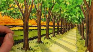 see how to draw a simple one point perspective landscape of a road and trees