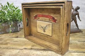 bruton somerset vintage wooden tray storage box desk or kitchen amors owl
