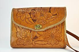 hand tooled leather handbag vintage western handbag american