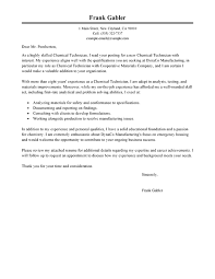 Housing Cover Letter Best Chemical Technicians Cover Letter Examples Livecareer