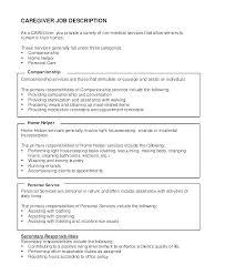 Sample Caregiver Resume Enchanting Caregiver Job Description Resume Resume Samples For Caregiver