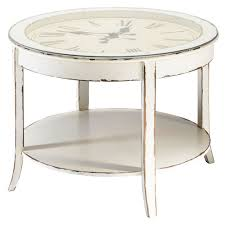 glass and wood round clock coffee table in white with distressed