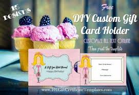Custom Gift Certificate Templates Free Free Diy Custom Gift Card Holders