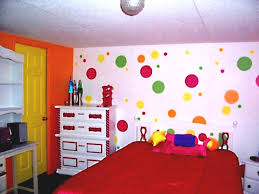 divine images of kid bedroom paint decoration ideas cute girl using colorful polka dot room wall