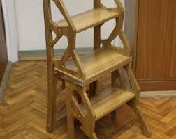 Step Stool Chair - Chair Ladder - Step Ladder - Foot Stool - Wood Step Stool