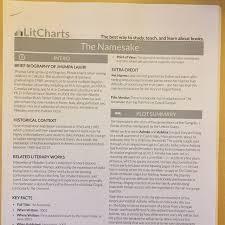 The Namesake Lit Chart Notes Books Stationery Textbooks