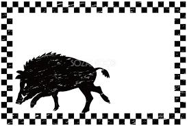 白黒イノシシ市松模様亥年の年賀状2019フレーム無料イラスト82955