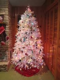 Christmas Tree With White And Multicolor Lights White Iridescent Tree Pre Lit With Multicolor Lights I