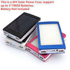 details about solar power bank 5 18650 battery charger case dual usb box 20 led diy kit