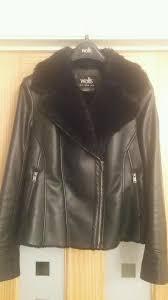 las wallis black leather look and faux fur biker jacket coat size 14