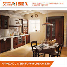 2018 factory direct ing linear solid wood kitchen cabinet