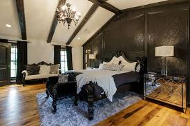 traditional bedroom ideas. Contemporary Bedroom Elegant Traditional Bedroom With Black Patterned Wall And Chandelier To Traditional Bedroom Ideas