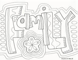 Family Doodle Coloring Page Zentangle Word