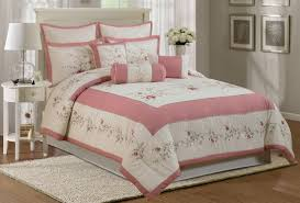 pillow sets for bed. Simple Bed RoseColored Bedding 7Pc Floral Rose U0026 Ivory ComforterPillow Set Intended Pillow Sets For Bed A