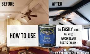 Rustic Furniture Stain Mimiberry Creations How Gel Stain Makes Painted Wood Beams Rustic