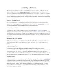 Letter Of Recommendation For Medical Doctor Shadow Doctor Letter Of Recommendation Sample For Shadowing A