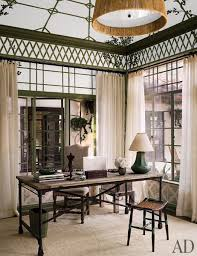 decorative painter nic valle ornamented dinah s study with a trellis motif the desk and upholstered chair are by restoration hardware and the table lamp
