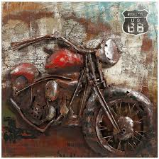 dimensional motorcycle metal wall art