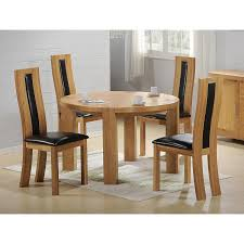 zeus solid oak round dining table with six chairs light oak finish