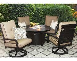 quincy cast aluminum outdoor patio 5pc set 50 inch round firetable series 4000 with sunbrella sesame linen cushion antique bronze zenpatio
