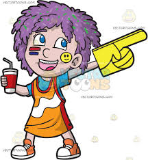 sports fan clipart. a sports fan girl wearing her team colors clipart g