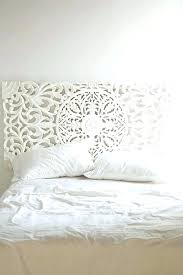carved wooden headboard white