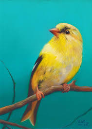 2 painting goldfinch bird painting