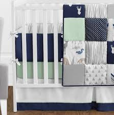 woodsy navy mint and grey crib bedding