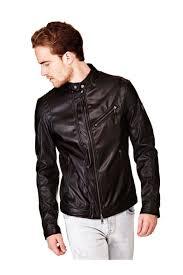 guess black faux leather men s jacket