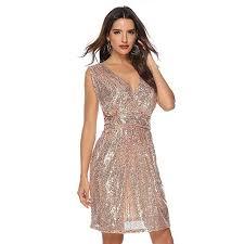 FairOnly <b>Women Sexy Sequin V Neck</b> Sleeveless Evening Dress ...