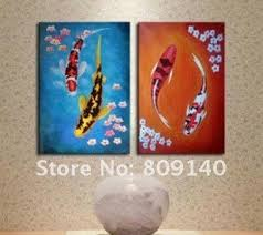 feng shui paintings for office. Oil Painting Canvas Koi Fish Feng Shui Decoration Modern High Quality Hand Painted Home Office Hotel Wall Art Decor Free Shippin Paintings For C