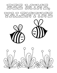 valentines day coloring pages.  Coloring Bee Mine Coloring Page Intended Valentines Day Pages E
