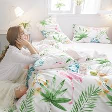fun lime green white pink blue and orange botanical fern leaf flamingo print tropical hawaiian twin full queen size bedding sets