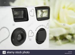 Disposable White Wedding Camera With Silver Hearts On The Front
