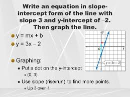 write an equation in slope intercept form of the line with slope 3 and y
