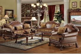 Traditional Sofa Sets Living Room Brown Bycast Leather Chenille Traditional 3pc Sofa Set