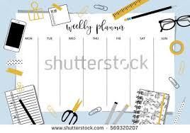 Cute Printable Weekly Calendar Vector Download Free Vector Art