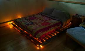 Pallet Bedroom Pallet Bed With White Christmas Lights Pallets Pinterest