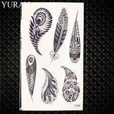 пикантные черные сапоги племенной перо птицы временная татуировка для женщин