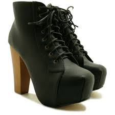 new womens lace up wooden block high heel concealed platform ankle boots size