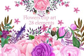 Floral decorative elements vectors set free vector. Watercolor Flowers Clip Art 28394 Illustrations Design Bundles Flower Clipart Watercolor Flowers Clip Art