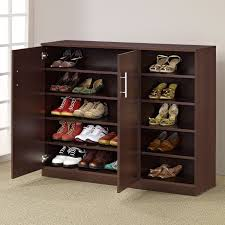 wooden shoe cabinet furniture. Lacquered Brown Walnut Wood Shoe Cabinet With Storage Shelves, Delightful Doors Wooden Furniture O